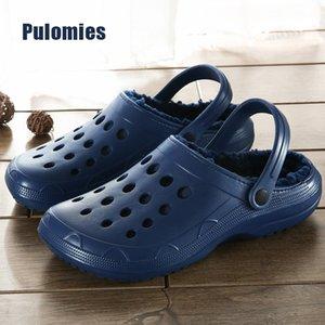 Wintes Calçados Femininos Quick Dry tamancos Casual Jardim sapatos quentes Plush Sandals Casal antiderrapante Início Flip Flops Chinelos por Homens