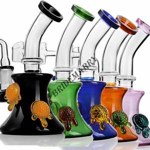 Colorful Turtle Beaker Bong Glass Bubbler Showerhead Perc Bent Neck Vapor Hookah Water Pipe 14mm Joint Banger Glass Bongs
