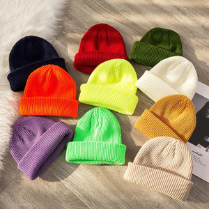 Women Knitted Hats Thermal Skullcap Autumn Winter Warm Men Beanie Hat Unisex Winter Retro Brimless Fashion Melon Cap FWD3062