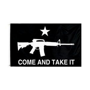Venha e pegue a bandeira 90 * 150cm 3x5fts Gonzales Histórico M4 Carabina Gun Molon Labe Jardim Decoração Banner W-00526