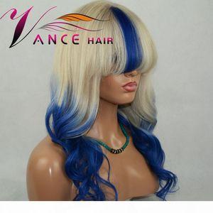Vancehair 13x4.5x1 T Lace Front Wigs Custom Blue Natural Wave Wigs Human Wigs com franja 150% pré arranjaram cabelo remy