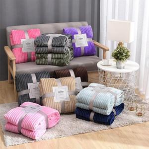 Flanelldecke fest gestreifter Decke super weiche Decken Winter warm flaumig Bettdecke für Sofa Schlafzimmer Mechanische Waschendecke GWC4502