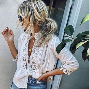 Dropshipping Women Lace Hollow Blouses 3 4 Sleeve Ladies White Shirt 2019 Summer Casual Blouse Tops Streetwear Woman Clothes