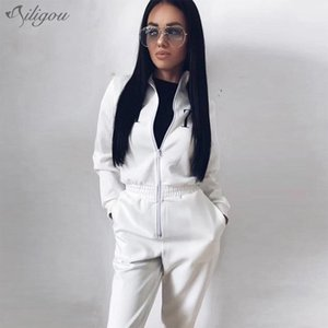 wholesale 2020 New Women's Casual Long Sleeve Letter Zipper Jumpsuit Sexy Black White Red Slim Full Length Party Jumpsuit
