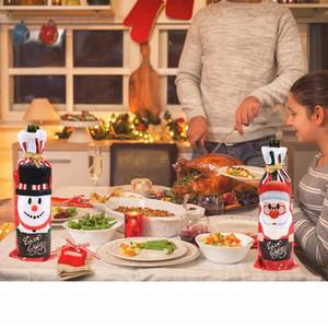 Christmas Ornament Creative Santa Claus Wine Bottle Cover Dinner Decoration Reusable Xmas Table Wine Bag Home Party Supplies Kimter-L891FA