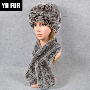 New Women Warm 2 Pieces Sets Knit Real Rex Fur Hat Scarf Lady Rex Fur Cap Scarves Ring Shawl Hats1