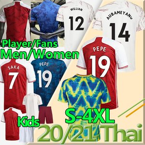 4XL Gunners 4th Soccer Fans Versione giocatore Jerseys 2020 21 Arsen Thomas Pepe Willian Saka Tierney Men Donne Kids Kit Kit di calcio Uniforme