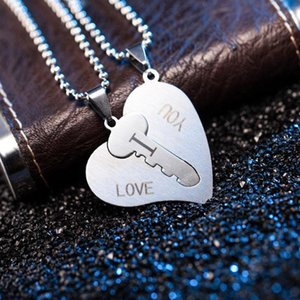 Couple Necklaces Set Engrave I Love You Heart Key Paired Pendants Titanium Steel Jewelry Accessories