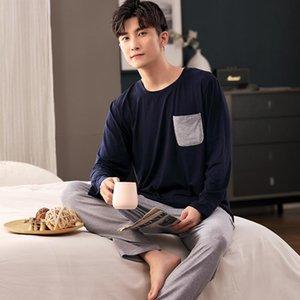 Pajamas à manches longues pour hommes modaux avec couverture décontractée Section mince Service à domicile Augmentation Plus Fertilisant Pigiama Uomo