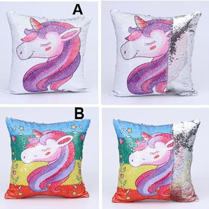 Super Shining Magical Cartoon Mermaid Cushion Cover with Sequins Reversible Color Changing Pillow Case Pillow Cover for Seat Car DH0421