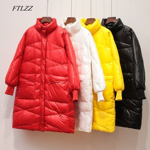FTLZZ Winter Women Ultra Light Down Jacket Medium Long Breadwear Warm Stand Collar Loose White Duck Down Parka Zipper Outwear LJ201120
