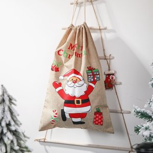 Factory8AA0Santa Candy Gift Decorations Linen Christmas Child Printed Backpack Apple Bag