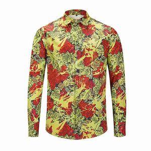 Высокое качество бренда печатная рубашка мужская одежда бизнес 2021 новый плюс размер мода повседневная роза цветочная блузка мужские рубашки
