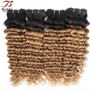 1B 27 Ombre Blonde Deep Wave Hair Weave Bundles 브라질 곱슬 머리 두 톤 3 4 조각 10-24 인치 레미 인간의 머리카락 확장