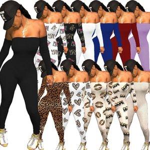 Mulheres Jumpsuits Designer 2021 Slim Sexy Love Padrão Letras Leopard Impresso Dia dos Namorados Uma palavra Collar Senhoras Novas Moda Macacão
