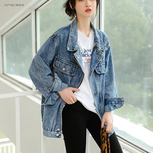New Arrivals Loose BF Denim Long Jacket Woman Spring 2020 Casual Streetwear Vintage Female Jeans Coats And Jackets Outwear Blue