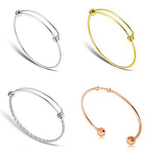 20pcs / lot 100% acciaio inox acciaio inox feritoia fascino Braccialetto 50-65mm gioielli ritrovamento espandibile braccialetti regolabili braccialetti all'ingrosso