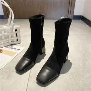 2020 Italy Fashion short boot women brand designer boots female chunky ankle shoes plain toes sock boot slim looking z520