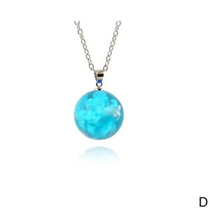2019 New Fashion Star Blue Sky White Clouds Resin Glass Ball Pendant Necklace Women Chain Necklace Party Jewelry Girls Gifts