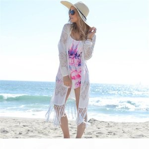2020 Sexy See Through Fringed White Lace Long Kimono Cardigan Swimwear Cover-Ups Plus Size Women Summer Bikinis Beach Wear Tops and Blouses