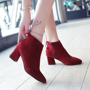 Weweya cremallera botines botas mujeres altas botas puntiaguda punta puntiaguda boots de moda arco de moda otoño talón bota bota feminina plus size 451