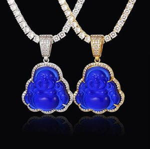 14K Gold Iced Out Buddha Pendant Necklace Bling Micro Pave Cubic Zirconia Simulated Diamonds with 3mm 24inch Tennis Chain