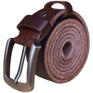 الشرير الصلب النحاس مشبك الحبوب الكامل 100٪ جلد طبيعي أحزمة رجالي مصمم فاخر جودة عالية رعاة البقر حزام البني