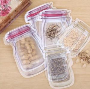 Para armazenamento a granel Food Bags Mason Jar Shaped Bolsas Food Container reutilizável Eco Friendly Depósito Snacks saco de plástico à prova de cheiros Clipe OWC3656