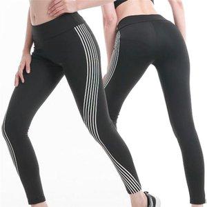 Female Glow In The Dark Night Light Reflective Leggings Stripes Laser Women Fitness Yoga Pants Tights Sportswear Tracksuit