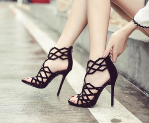 women nea style sandals Geometric lines sexy hollow after zipper thin heel high heel sandals high Qaulity free shipping
