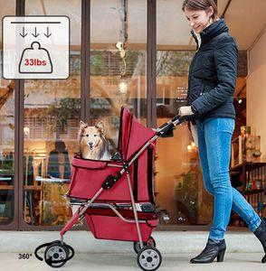 New Red Pet Stroller Cat Dog Cage 3 Wheels Stroller Travel Folding Carrier T13