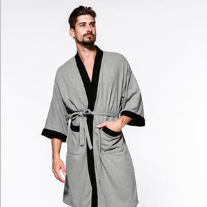 Five-star hotel cotton Men's Sleepwear waffle robe bathrobe hot spring sauna bath towel