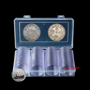 60 Pcs Clear Round 41mm Direct Fit Coin Capsules Holder Display Collection Case With Storage Box For 1 oz American Silver Eagles Z1123