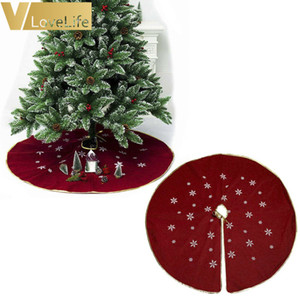 48 inch Burlap Snowflake Christmas Tree Skirts Christmas Decorations for Home Ivory Burgundy Color Z1128