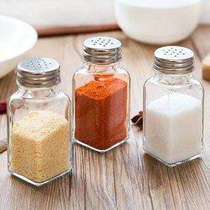 Kitchen Gadget Glass Spice Bottle Seasoning Box Pepper Spice Storage Bottle Jars Salt Pepper Cumin Powder Box SEA SHIPPING DDE3099