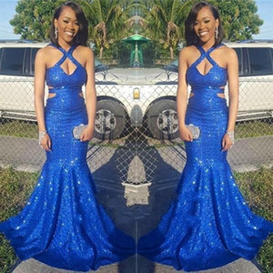 Blingbling Royal Blue Mermaid Sequined Prom Dresses Black Girls Cutaway Sides Criss Cross Keyhole Neck Long Evening Party Gowns