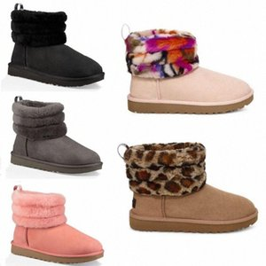 2020 New Womens Wgg Snow Boots Ankle Short half Bow Fur Designer For keep warm Winter Platform Shoes Australian Girls' short boot k5AR#
