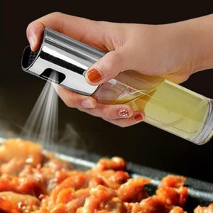 BBQ Cooking Glass Oil Sprayer Glass Olive Pump Stainless Steel Spray Bottle Can Jar Pot Kitchen Tool DHC2766