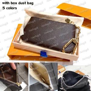 Hohe Qualität 5 Farben Key Pouch Herren Münze Geldbörsen Frauen Reißverschluss Brieftasche Pochette mit Kette und Schlüsselhalter 62650 mit Box Staubbeutel