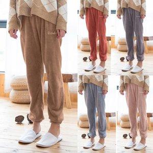 Женские брюки пижамные чистые коралловые бархатные бытовые плюшевые брюки удобные брюки толстые фланель теплые толстые брюки
