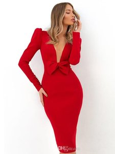 Short Red Mermaid Evening Dresses with Bow Buttons Long Sleeves Prom Gowns Sexy Deep V Neck Cocktail Party Dress
