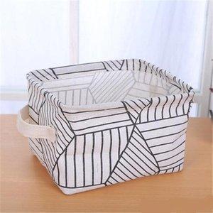 Pieghevole domestico cestello per la casa in cotone lino per desktop sdraio per il desktop organizzatore di archiviazione stile nordico bagno bagno sacchetto di stoccaggio impermeabile AHF3363