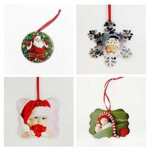 22 Styles Sublimation Blank Mdf Christmas Ornaments Decorations Round Square Shape Decorations Transfer Printing Consumable FY4266