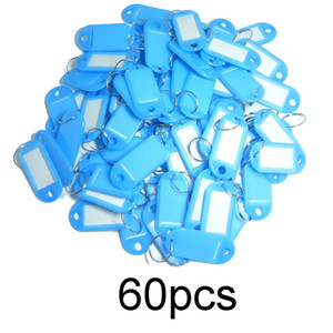 60PCS Plastic keychain Custom Split Ring ID Key Tags Labels Key Chains Key Rings Numbered Name Baggage Luggage Tags