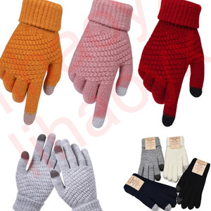 Winter Touch Screen Luvas Mulheres Homens Quente Estiramento Malhas Mitenes Imitação de Dedo Completo Guantes Femininos Crochet Luvas Espessura DLH003