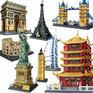 Arquitectura pirámide Opera de Sydney conjunto de bloques de construcción de la ciudad capital de hotel de Londres Torre árabe arco del triunfo estatua de la libertad c1118