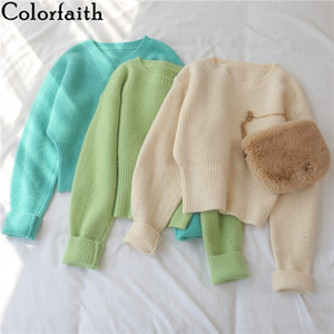Colorfaith New 2020 Autumn Winter Women's Sweater Pullovers Warm Minimalist Korean Short Elegant Solid Sweet Lady Jumpers SW6342 201123