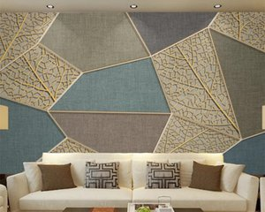 Classic 3D Wallpaper Modern Geometric Leaf Texture Golden Embossed Lines Indoor TV Background Wall Decoration 3d Mural Wallpaper