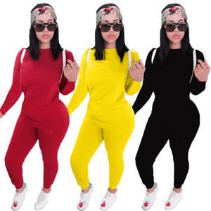 Mujeres Sólido Color de 2 piezas Conjunto de chándales Otoño Invierno Ropa Sudadera Pantalones Trajes Outerwear Leggings Sportswear Pullover BodySuits 1012