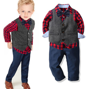 Boys Suit 2020 Autumn New Children Gentleman Formal Wear Baby Boy Trousers Plaid Shirt Cardigan Three-piece Set Kids Winter Suit Y1113